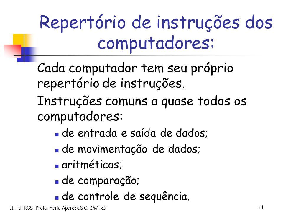 II - UFRGS- Profa. Maria Aparecida C. Livi v.3 11 Repertório de instruções dos computadores: Cada computador tem seu próprio repertório de instruções.