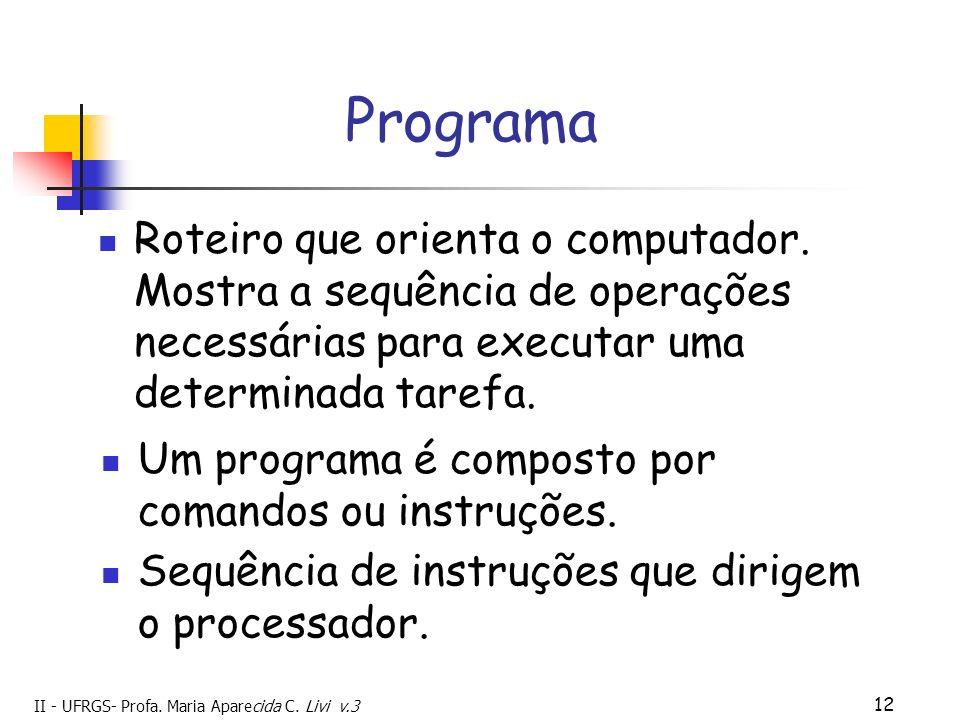 II - UFRGS- Profa. Maria Aparecida C. Livi v.3 12 Programa Roteiro que orienta o computador. Mostra a sequência de operações necessárias para executar