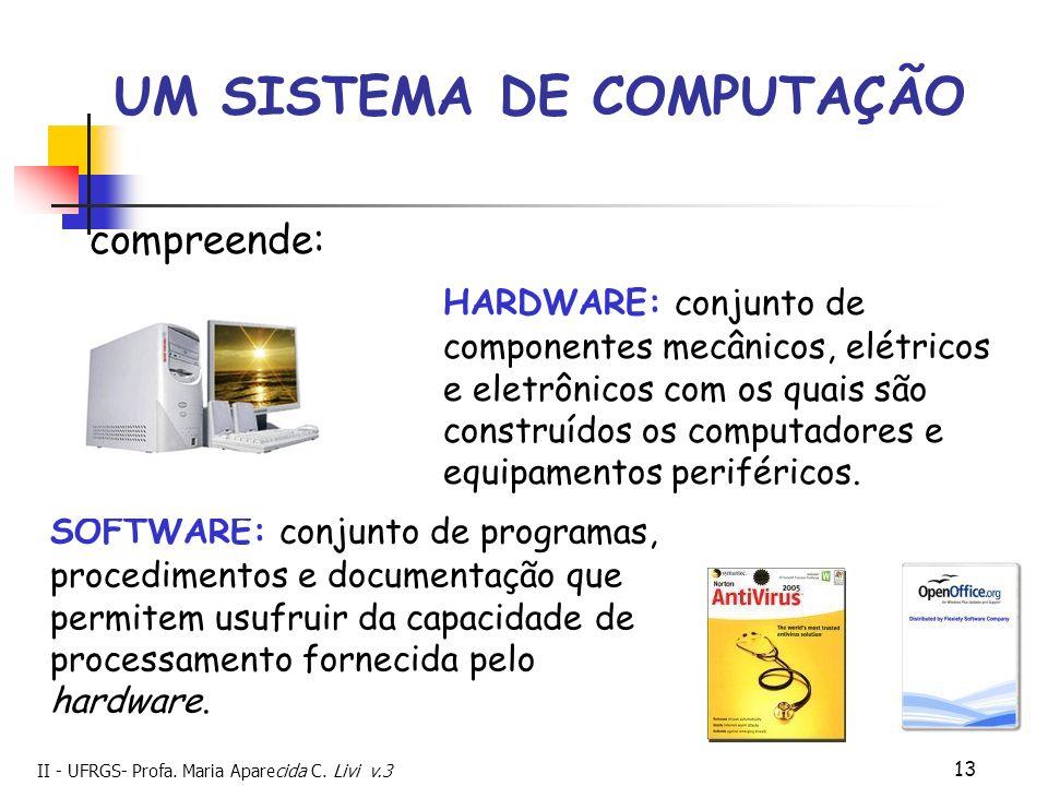 II - UFRGS- Profa. Maria Aparecida C. Livi v.3 13 UM SISTEMA DE COMPUTAÇÃO HARDWARE: conjunto de componentes mecânicos, elétricos e eletrônicos com os