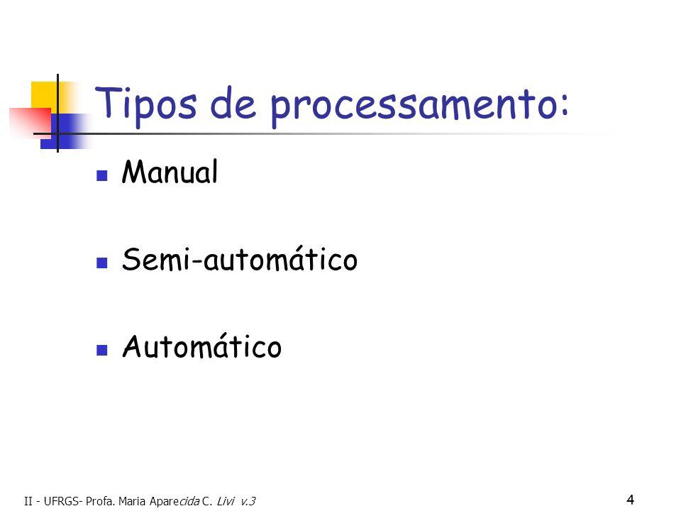 II - UFRGS- Profa. Maria Aparecida C. Livi v.3 4 Tipos de processamento: Manual Semi-automático Automático