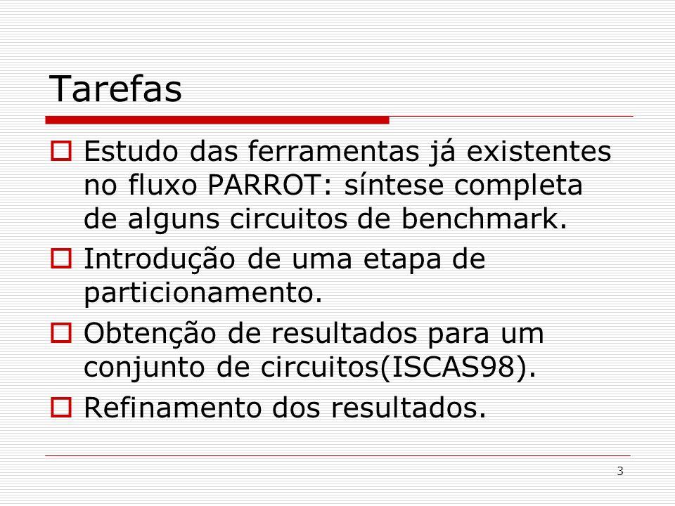 3 Tarefas Estudo das ferramentas já existentes no fluxo PARROT: síntese completa de alguns circuitos de benchmark. Introdução de uma etapa de particio