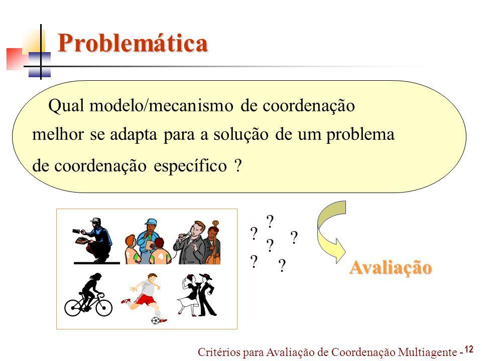Problemática 12 Critérios para Avaliação de Coordenação Multiagente - Qual modelo/mecanismo de coordenação melhor se adapta para a solução de um problema de coordenação específico .