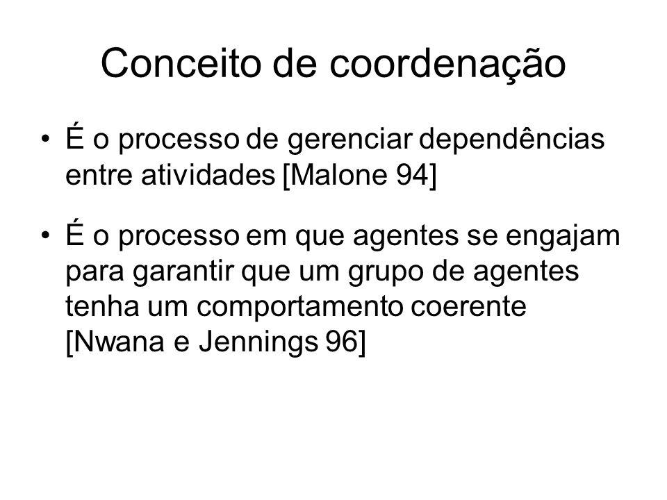 Conceito de coordenação É o processo de gerenciar dependências entre atividades [Malone 94] É o processo em que agentes se engajam para garantir que um grupo de agentes tenha um comportamento coerente [Nwana e Jennings 96]