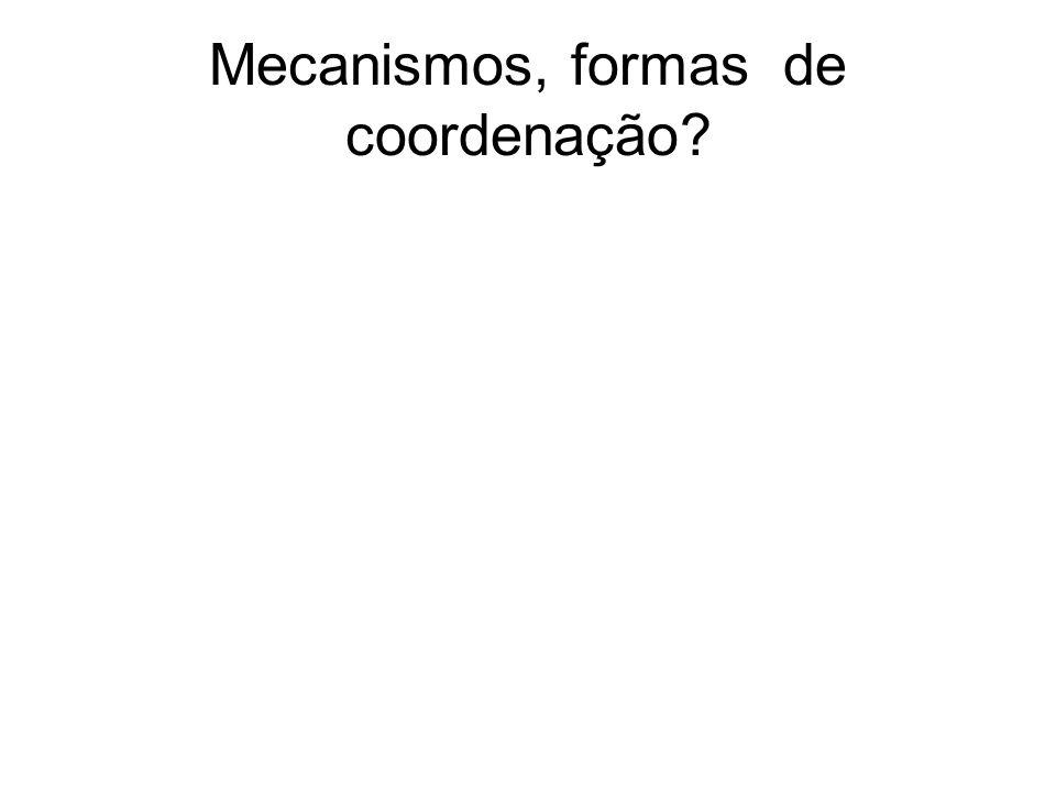 Mecanismos, formas de coordenação?