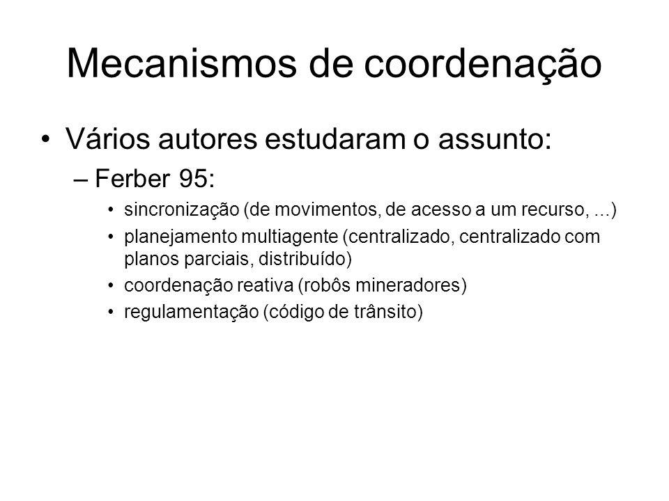 Mecanismos de coordenação Vários autores estudaram o assunto: –Ferber 95: sincronização (de movimentos, de acesso a um recurso,...) planejamento multiagente (centralizado, centralizado com planos parciais, distribuído) coordenação reativa (robôs mineradores) regulamentação (código de trânsito)