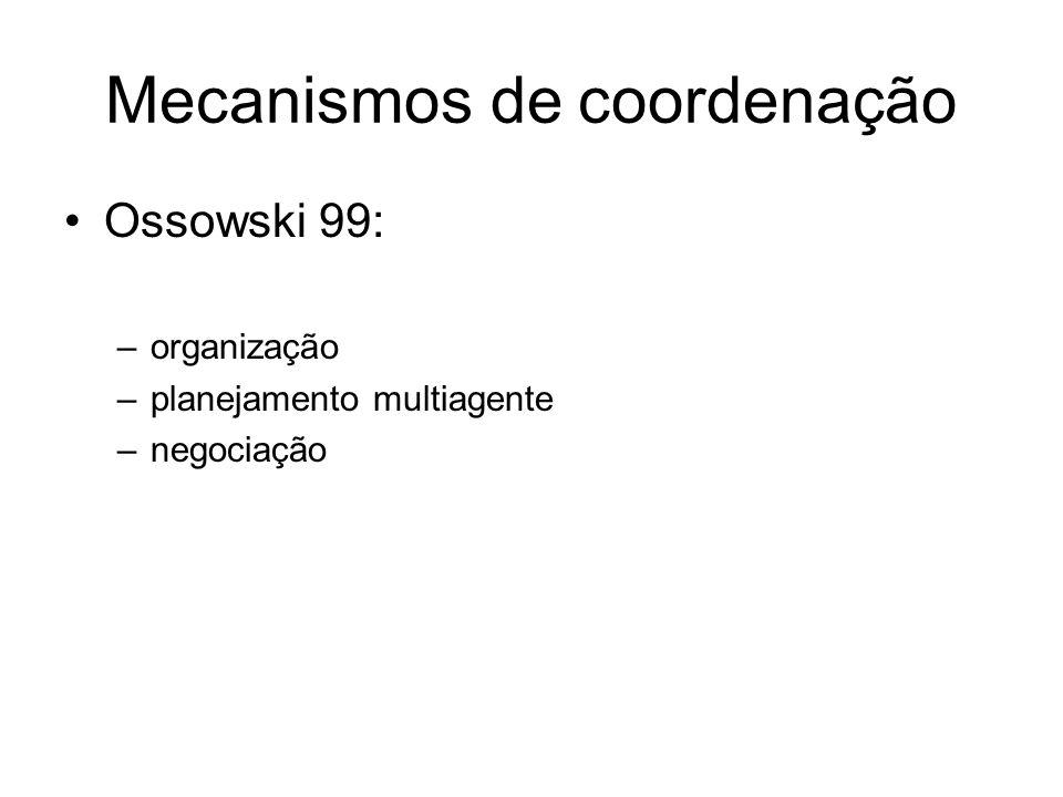Mecanismos de coordenação Ossowski 99: –organização –planejamento multiagente –negociação