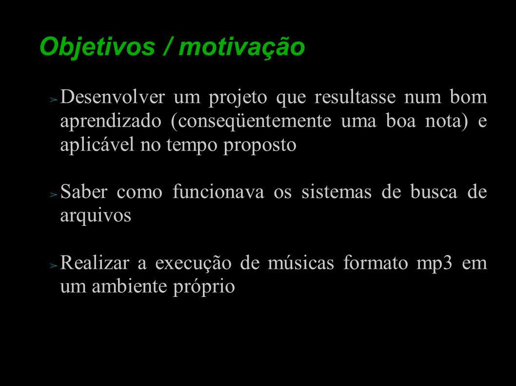Objetivos / motivação Desenvolver um projeto que resultasse num bom aprendizado (conseqüentemente uma boa nota) e aplicável no tempo proposto Saber co