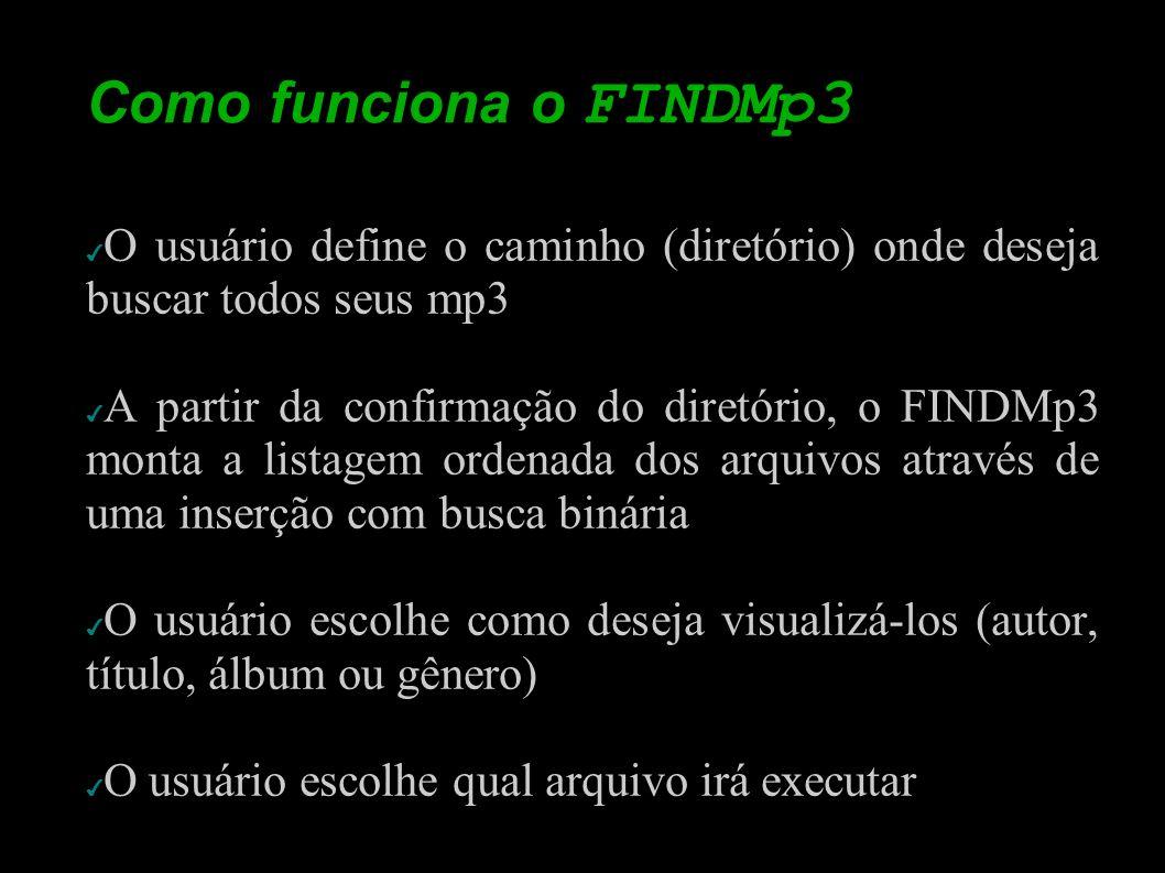 Como funciona o FINDMp3 O usuário define o caminho (diretório) onde deseja buscar todos seus mp3 A partir da confirmação do diretório, o FINDMp3 monta
