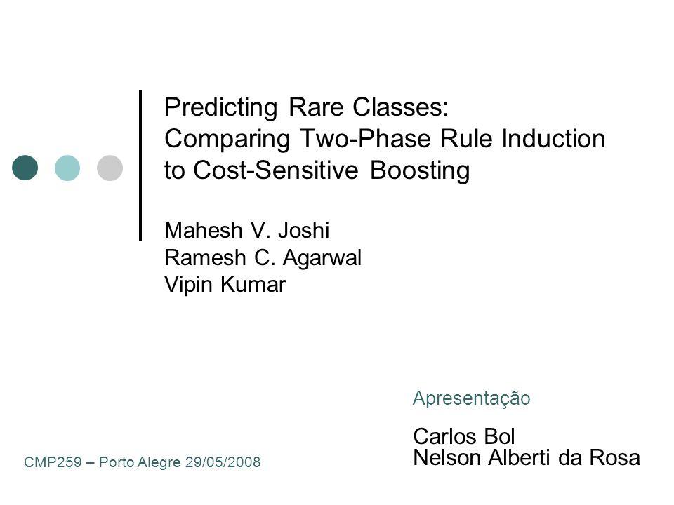 42 PNrule Escoragem Há que se considerar três aspectos no cálculo e atribuição do escore em relação as regras P e N: 1.o Estabelecimento do suporte mínimo para as regras N; 2.o Desconsiderar a influência de N-rule; 3.o Capacidade de uma regra distinguir uma classe