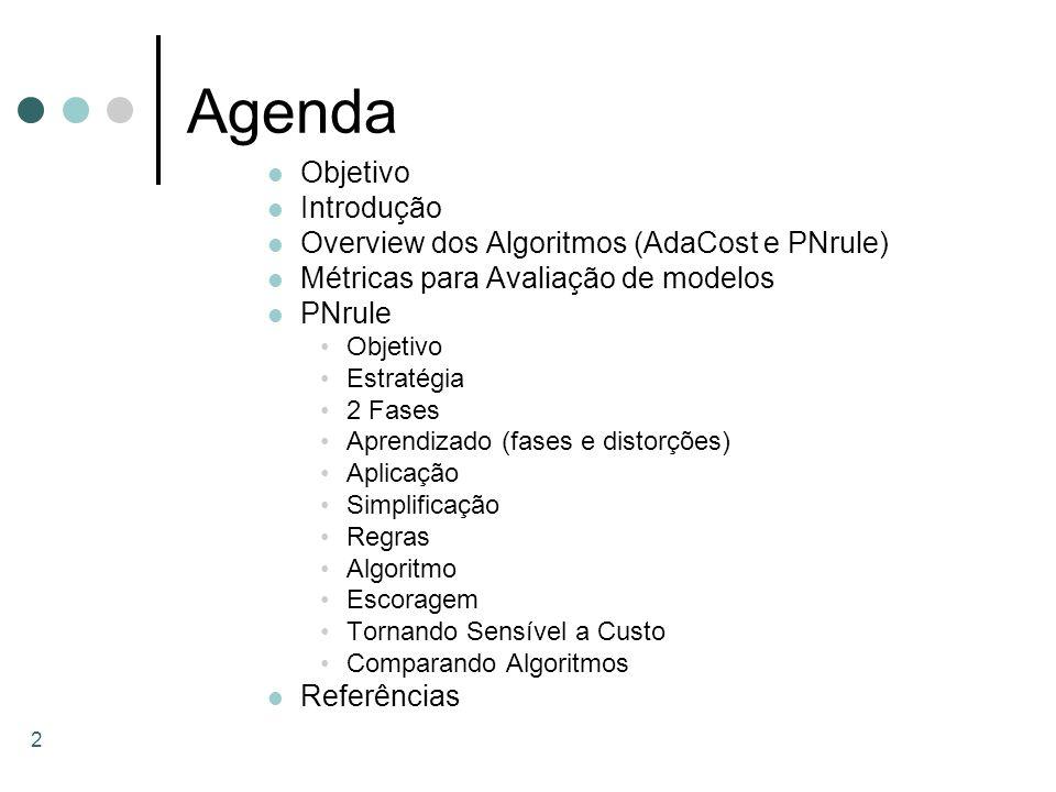 2 Agenda Objetivo Introdução Overview dos Algoritmos (AdaCost e PNrule) Métricas para Avaliação de modelos PNrule Objetivo Estratégia 2 Fases Aprendiz