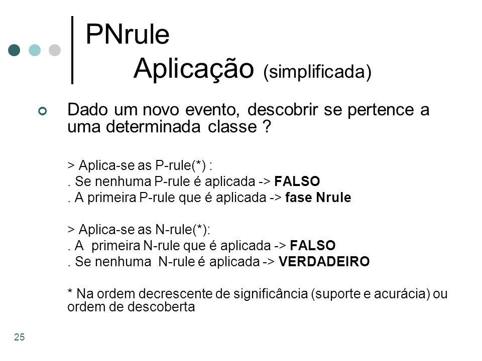 25 PNrule Aplicação (simplificada) Dado um novo evento, descobrir se pertence a uma determinada classe ? > Aplica-se as P-rule(*) :. Se nenhuma P-rule