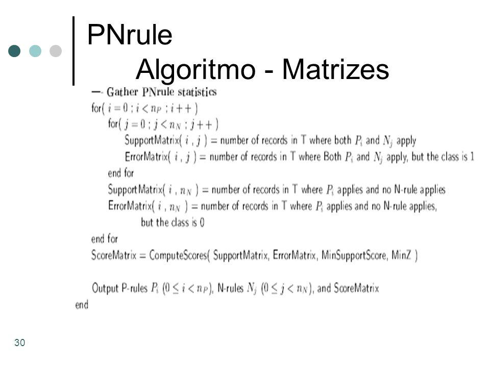 30 PNrule Algoritmo - Matrizes