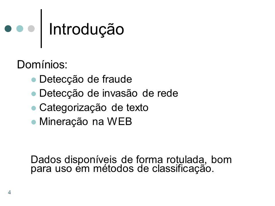 4 Introdução Domínios: Detecção de fraude Detecção de invasão de rede Categorização de texto Mineração na WEB Dados disponíveis de forma rotulada, bom