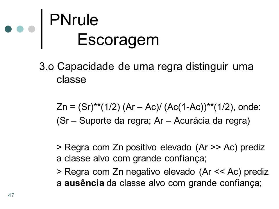 47 PNrule Escoragem 3.o Capacidade de uma regra distinguir uma classe Zn = (Sr)**(1/2) (Ar – Ac)/ (Ac(1-Ac))**(1/2), onde: (Sr – Suporte da regra; Ar
