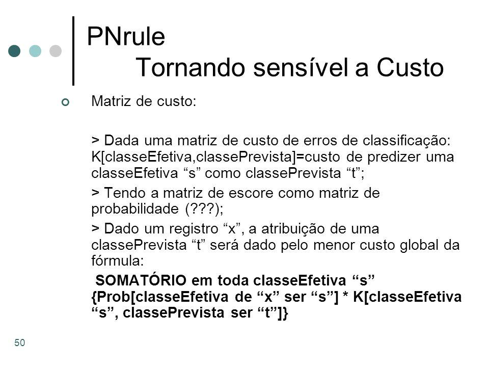 50 PNrule Tornando sensível a Custo Matriz de custo: > Dada uma matriz de custo de erros de classificação: K[classeEfetiva,classePrevista]=custo de pr