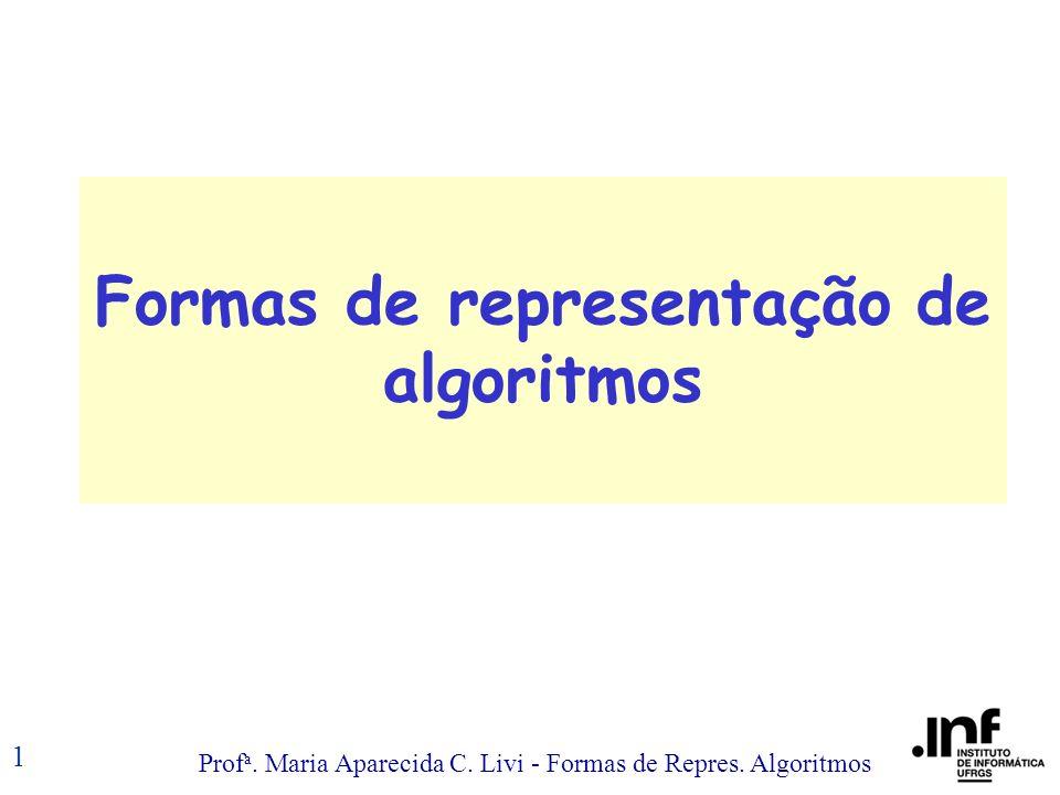 Prof a. Maria Aparecida C. Livi - Formas de Repres. Algoritmos 1 Formas de representação de algoritmos