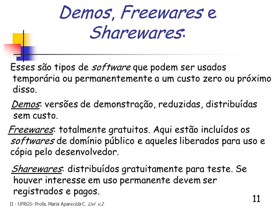 II - UFRGS- Profa. Maria Aparecida C. Livi v.2 11 Demos, Freewares e Sharewares: Esses são tipos de software que podem ser usados temporária ou perman