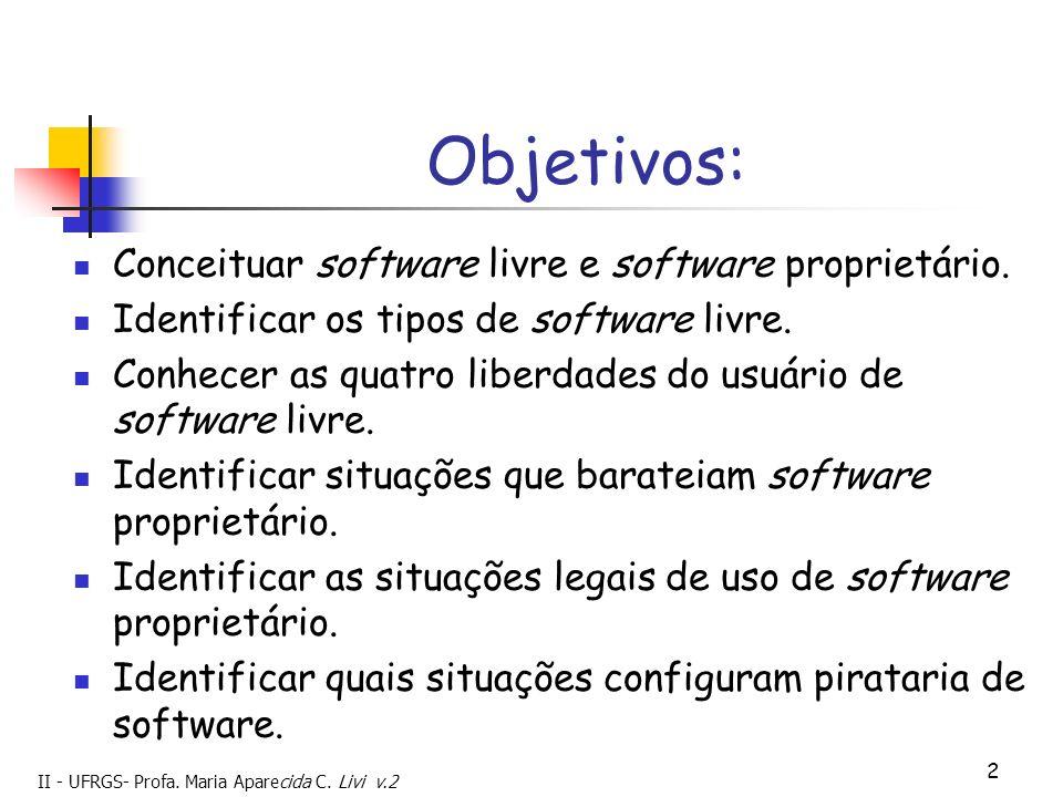 II - UFRGS- Profa. Maria Aparecida C. Livi v.2 2 Objetivos: Conceituar software livre e software proprietário. Identificar os tipos de software livre.