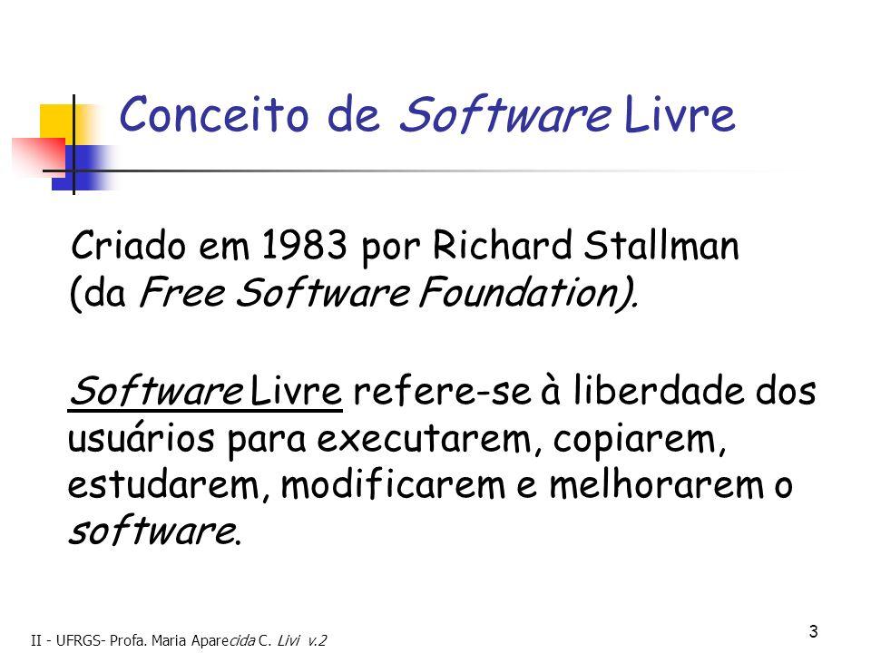 II - UFRGS- Profa. Maria Aparecida C. Livi v.2 3 Conceito de Software Livre Criado em 1983 por Richard Stallman (da Free Software Foundation). Softwar