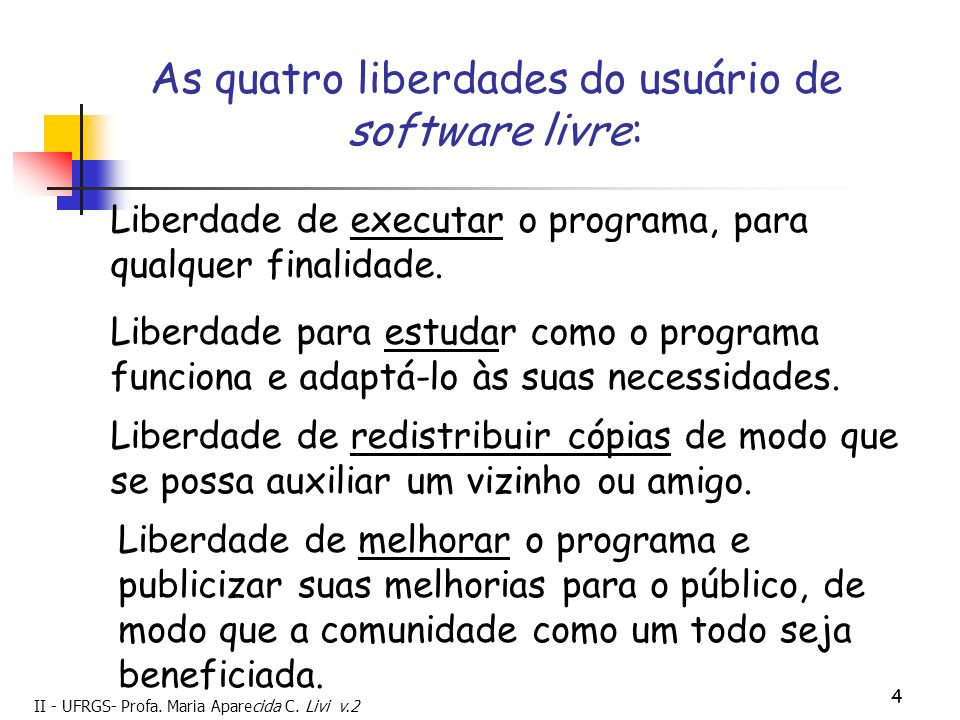 II - UFRGS- Profa. Maria Aparecida C. Livi v.2 4 As quatro liberdades do usuário de software livre: Liberdade de executar o programa, para qualquer fi