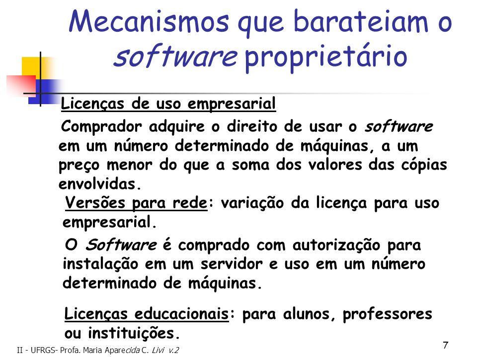 II - UFRGS- Profa. Maria Aparecida C. Livi v.2 7 Mecanismos que barateiam o software proprietário Licenças de uso empresarial Comprador adquire o dire