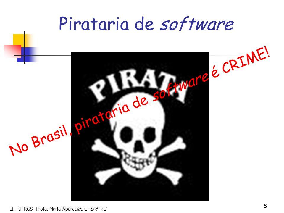 II - UFRGS- Profa. Maria Aparecida C. Livi v.2 8 Pirataria de software No Brasil, pirataria de software é CRIME!