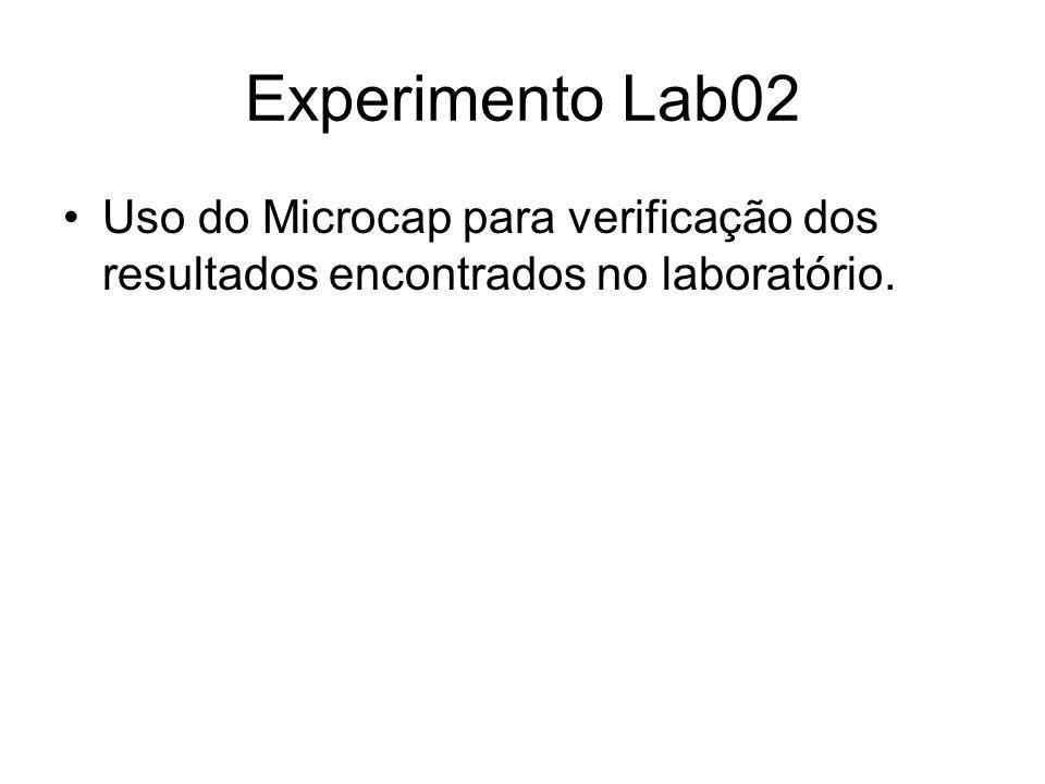 Experimento Lab02 Uso do Microcap para verificação dos resultados encontrados no laboratório.
