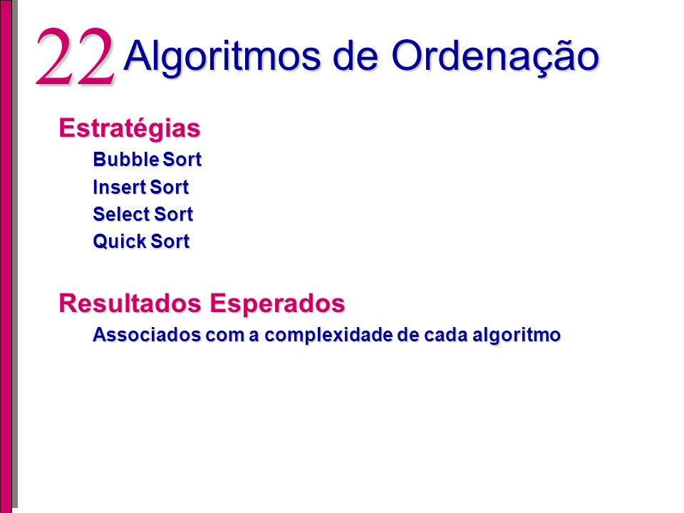 21 Pesquisa em Tabela Resultados (128 entradas) OBS: Valores médios de desempenho, área e potência. App Prg. Mem. (bytes) Data Mem. (bytes) Seq. 1 140