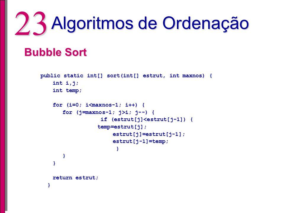 22 Algoritmos de Ordenação Estratégias Bubble Sort Insert Sort Select Sort Quick Sort Resultados Esperados Associados com a complexidade de cada algor