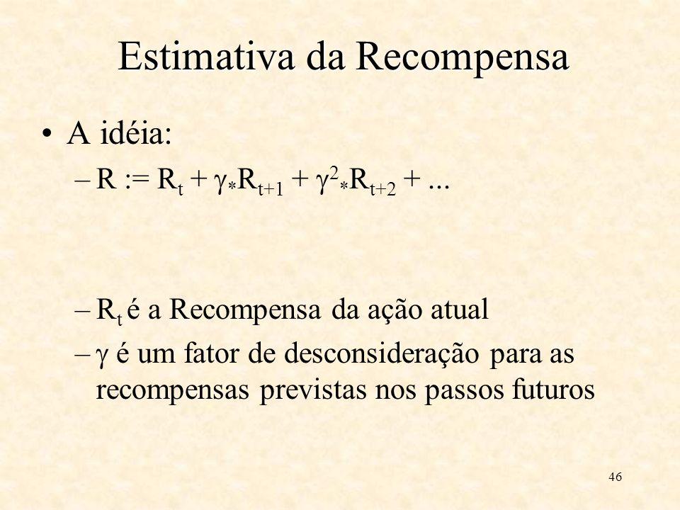 46 Estimativa da Recompensa A idéia: –R := R t + * R t+1 + 2 * R t+2 +...