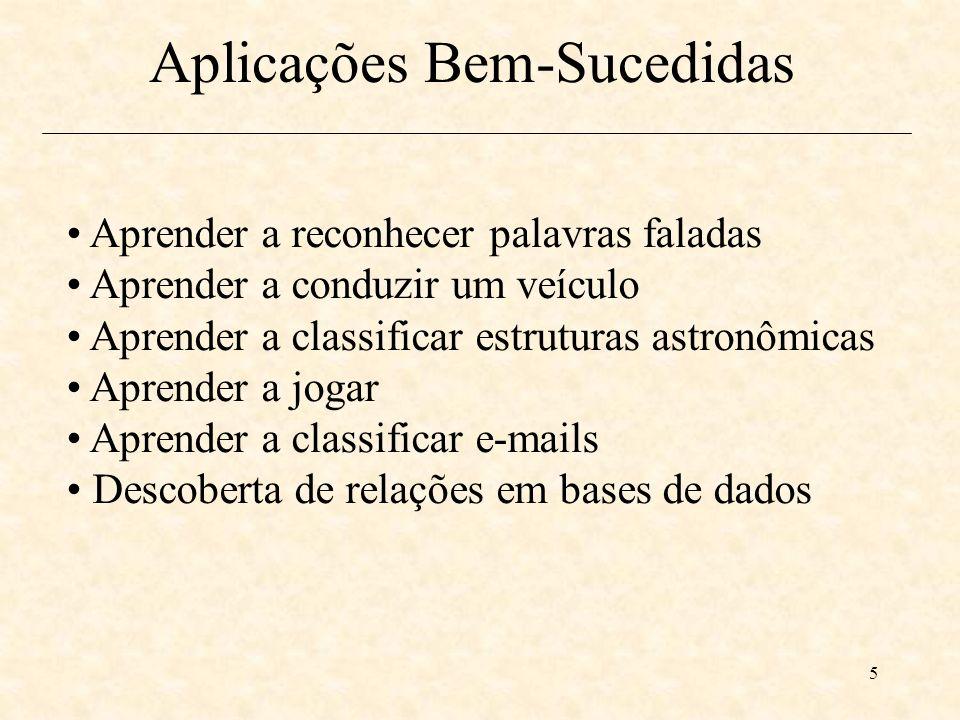 5 Aprender a reconhecer palavras faladas Aprender a conduzir um veículo Aprender a classificar estruturas astronômicas Aprender a jogar Aprender a classificar e-mails Descoberta de relações em bases de dados Aplicações Bem-Sucedidas