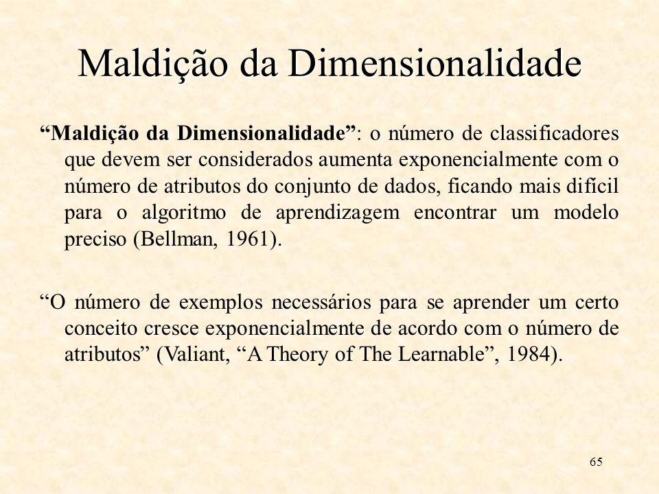 65 Maldição da Dimensionalidade Maldição da Dimensionalidade: o número de classificadores que devem ser considerados aumenta exponencialmente com o número de atributos do conjunto de dados, ficando mais difícil para o algoritmo de aprendizagem encontrar um modelo preciso (Bellman, 1961).
