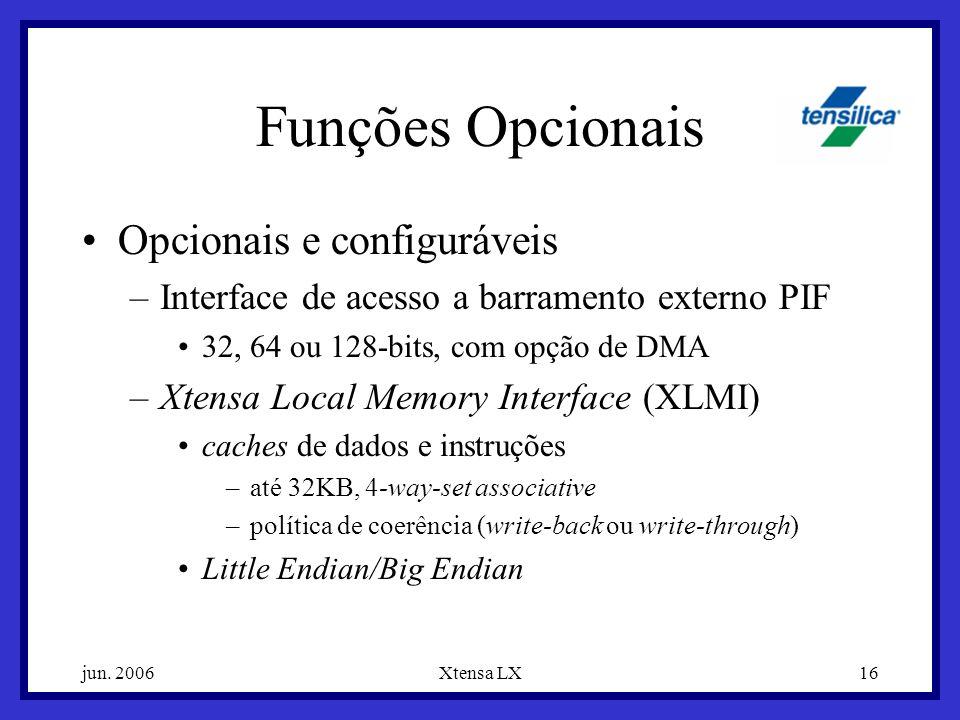 jun. 2006Xtensa LX16 Funções Opcionais Opcionais e configuráveis –Interface de acesso a barramento externo PIF 32, 64 ou 128-bits, com opção de DMA –X