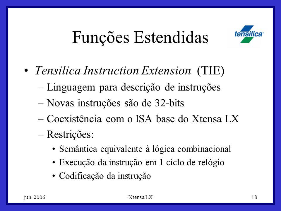 jun. 2006Xtensa LX18 Funções Estendidas Tensilica Instruction Extension (TIE) –Linguagem para descrição de instruções –Novas instruções são de 32-bits