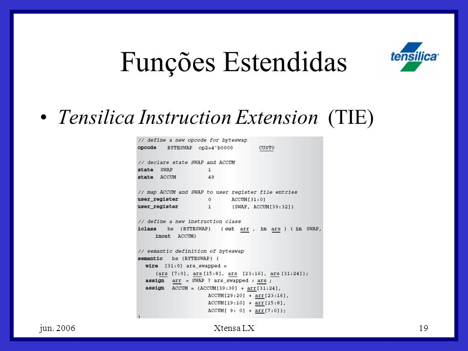 jun. 2006Xtensa LX19 Funções Estendidas Tensilica Instruction Extension (TIE)