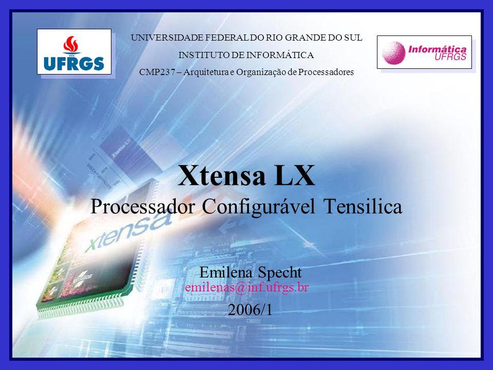 jun. 2006Xtensa LX29 Emilena Specht 2006/1 Xtensa LX Processador Configurável Tensilica UNIVERSIDADE FEDERAL DO RIO GRANDE DO SUL INSTITUTO DE INFORMÁ
