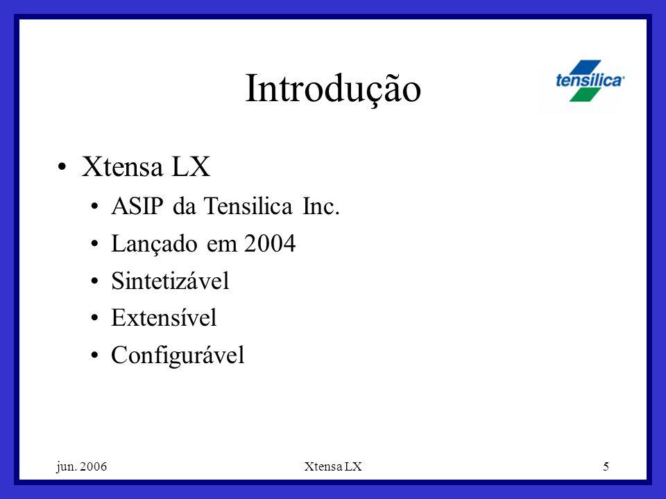 jun. 2006Xtensa LX5 Introdução Xtensa LX ASIP da Tensilica Inc. Lançado em 2004 Sintetizável Extensível Configurável