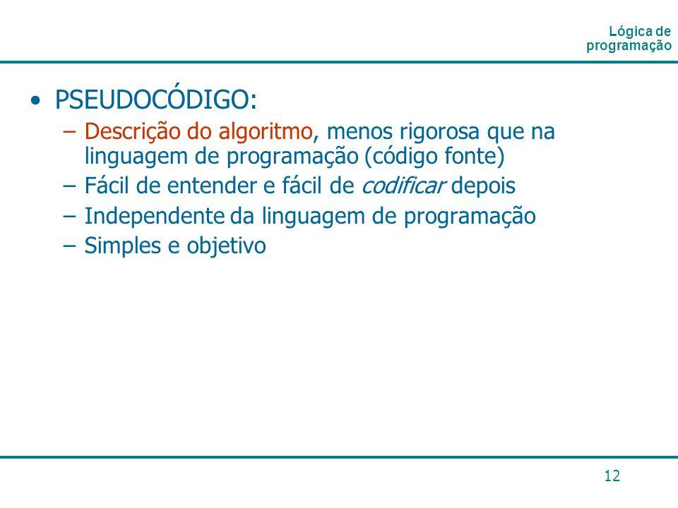 12 PSEUDOCÓDIGO: –Descrição do algoritmo, menos rigorosa que na linguagem de programação (código fonte) –Fácil de entender e fácil de codificar depois