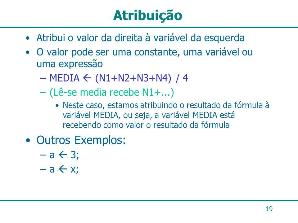 19 Atribuição Atribui o valor da direita à variável da esquerda O valor pode ser uma constante, uma variável ou uma expressão –MEDIA (N1+N2+N3+N4) / 4