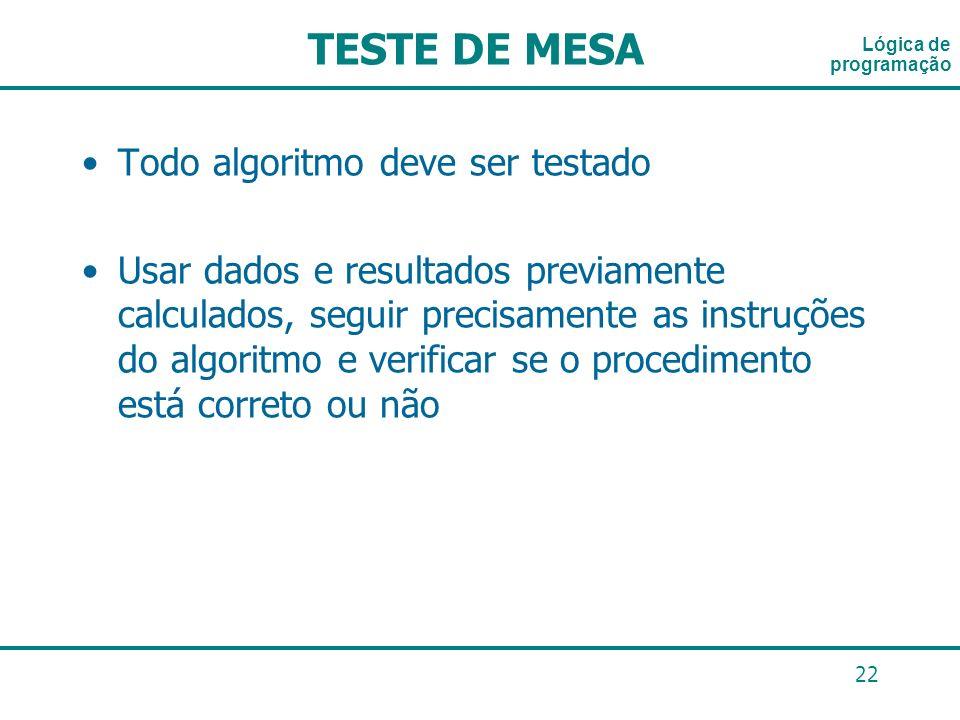 22 Lógica de programação TESTE DE MESA Todo algoritmo deve ser testado Usar dados e resultados previamente calculados, seguir precisamente as instruçõ
