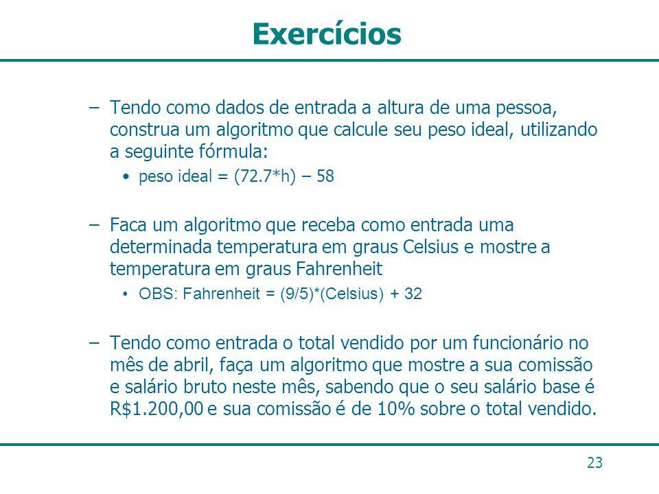 23 Exercícios –Tendo como dados de entrada a altura de uma pessoa, construa um algoritmo que calcule seu peso ideal, utilizando a seguinte fórmula: pe