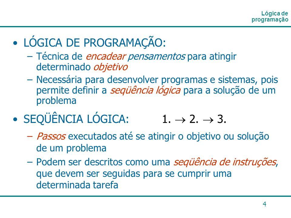 4 LÓGICA DE PROGRAMAÇÃO: –Técnica de encadear pensamentos para atingir determinado objetivo –Necessária para desenvolver programas e sistemas, pois pe