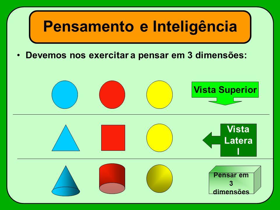 Pensamento e Inteligência Devemos nos exercitar a pensar em 3 dimensões: Vista Superior Vista Latera l Pensar em 3 dimensões