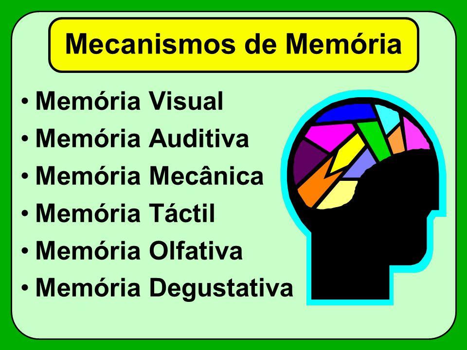Mecanismos de Memória Memória Visual Memória Auditiva Memória Mecânica Memória Táctil Memória Olfativa Memória Degustativa