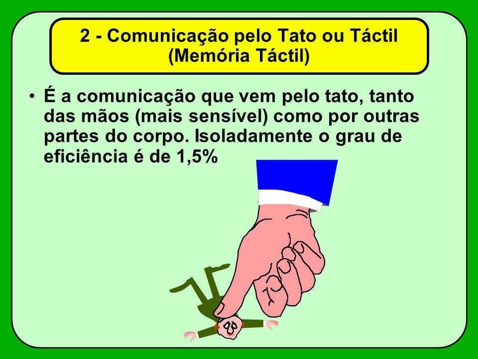 2 - Comunicação pelo Tato ou Táctil (Memória Táctil) É a comunicação que vem pelo tato, tanto das mãos (mais sensível) como por outras partes do corpo