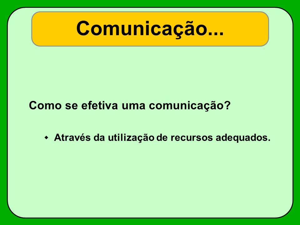 Comunicação... Como se efetiva uma comunicação? Através da utilização de recursos adequados.