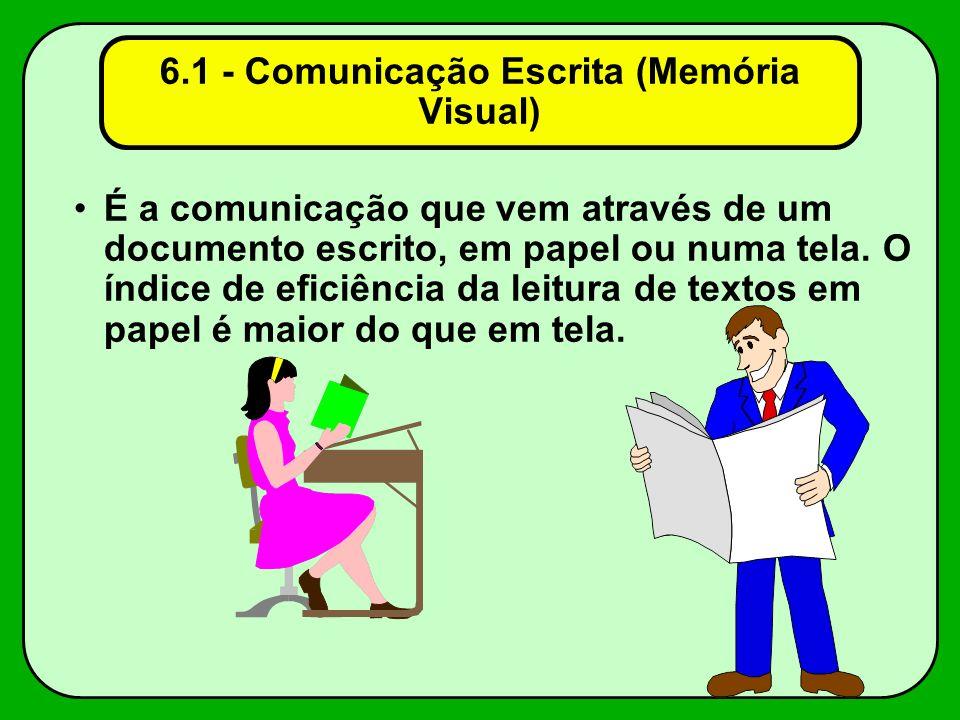 6.1 - Comunicação Escrita (Memória Visual) É a comunicação que vem através de um documento escrito, em papel ou numa tela. O índice de eficiência da l