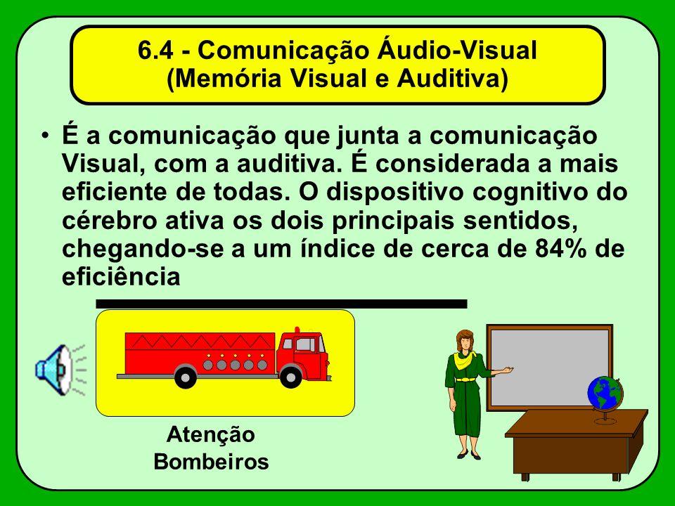 6.4 - Comunicação Áudio-Visual (Memória Visual e Auditiva) É a comunicação que junta a comunicação Visual, com a auditiva. É considerada a mais eficie
