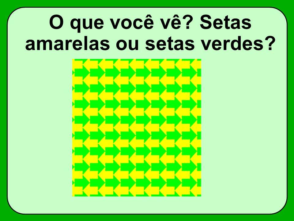 O que você vê? Setas amarelas ou setas verdes?