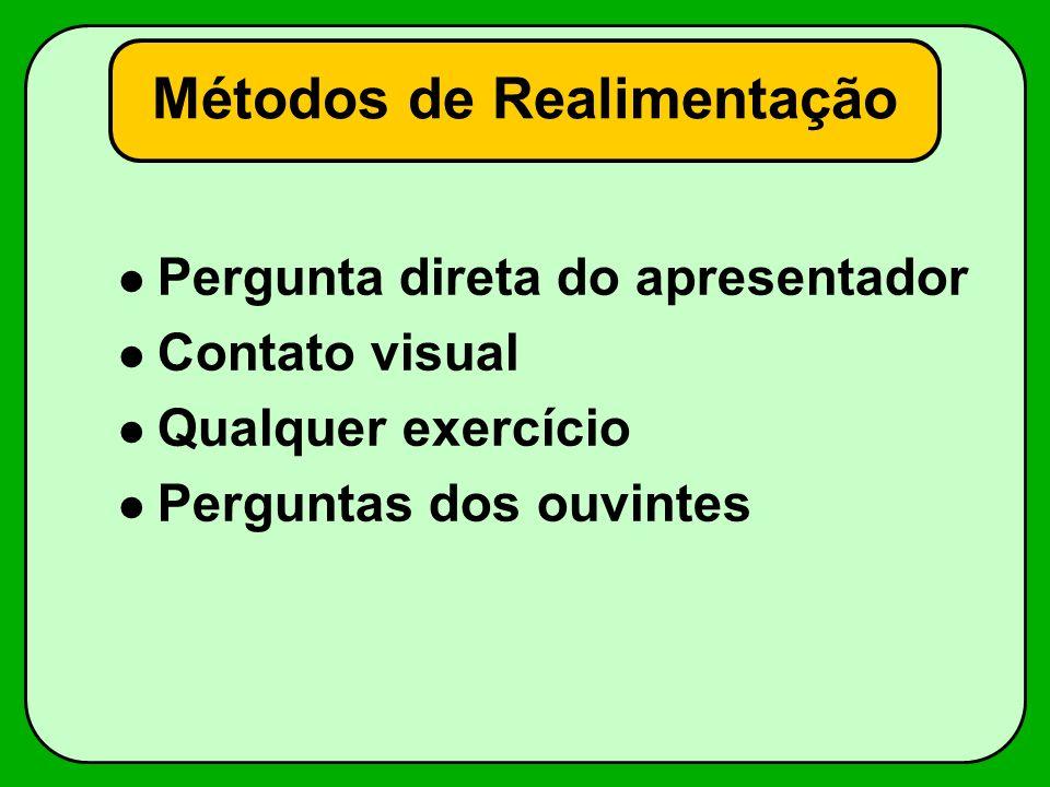 Métodos de Realimentação Pergunta direta do apresentador Contato visual Qualquer exercício Perguntas dos ouvintes